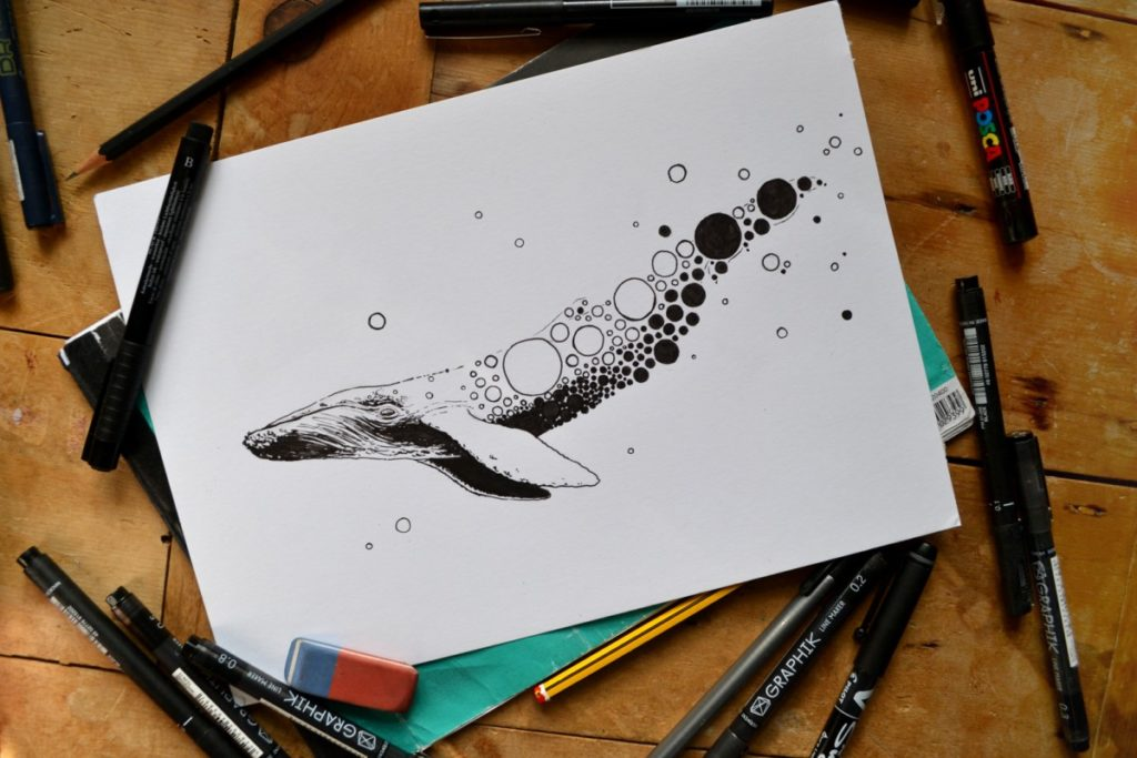 Hand drawn, black and white, patterned illustration of a whale