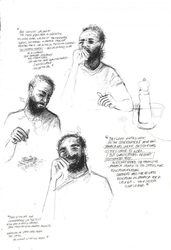 Three sketched portraits of the same bearded man, interwoven with quotes said by him to the artist.