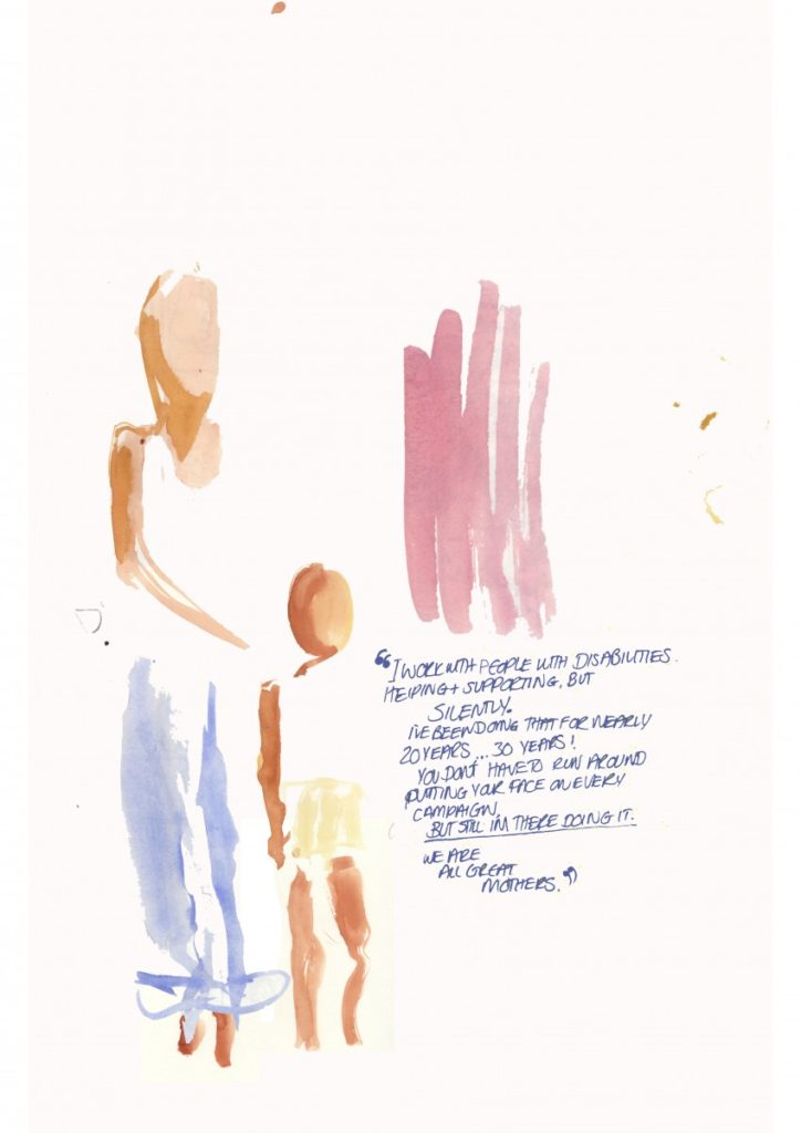 A non-outlined watercolour image featuring two abstract figures beside a handwritten quote.