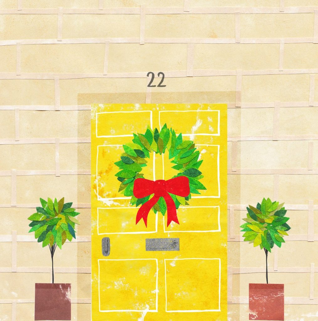 Paper collage of a yellow front door in Bath, with cream brickwork surrounding the door, a green wreath hung at the door and a plant eihter side of the door.