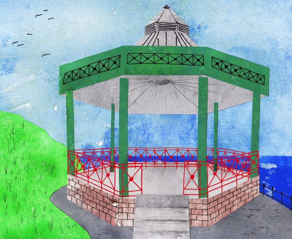paper collage of bandstand near the beach in Tenby, Wales