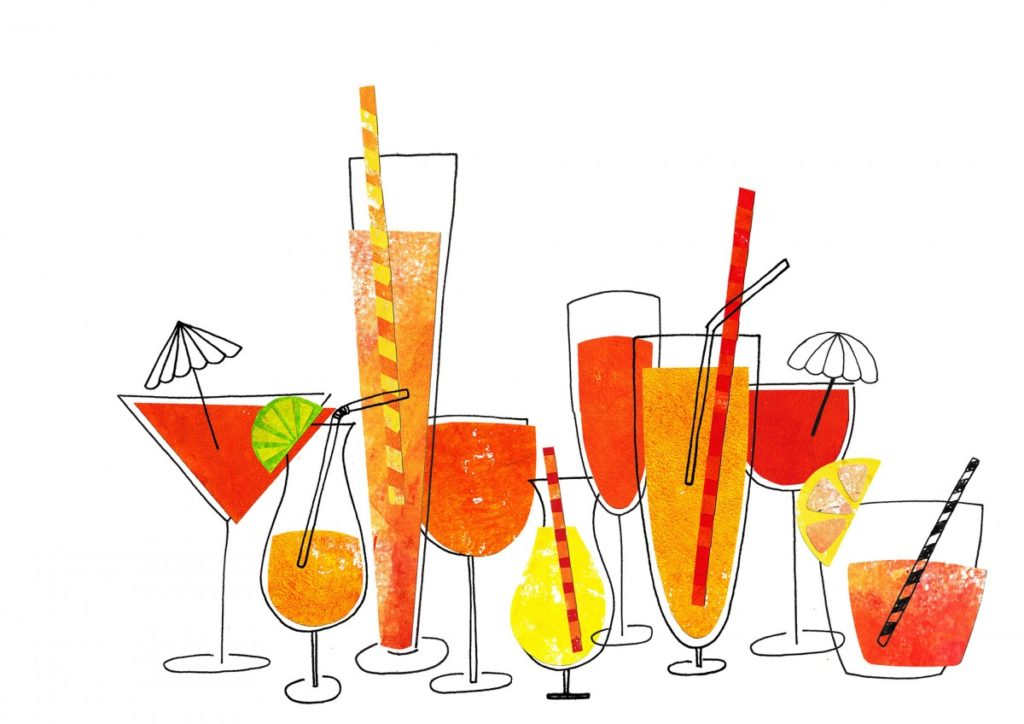 A collection of orange and yellow cocktail glasses, made from paper collage