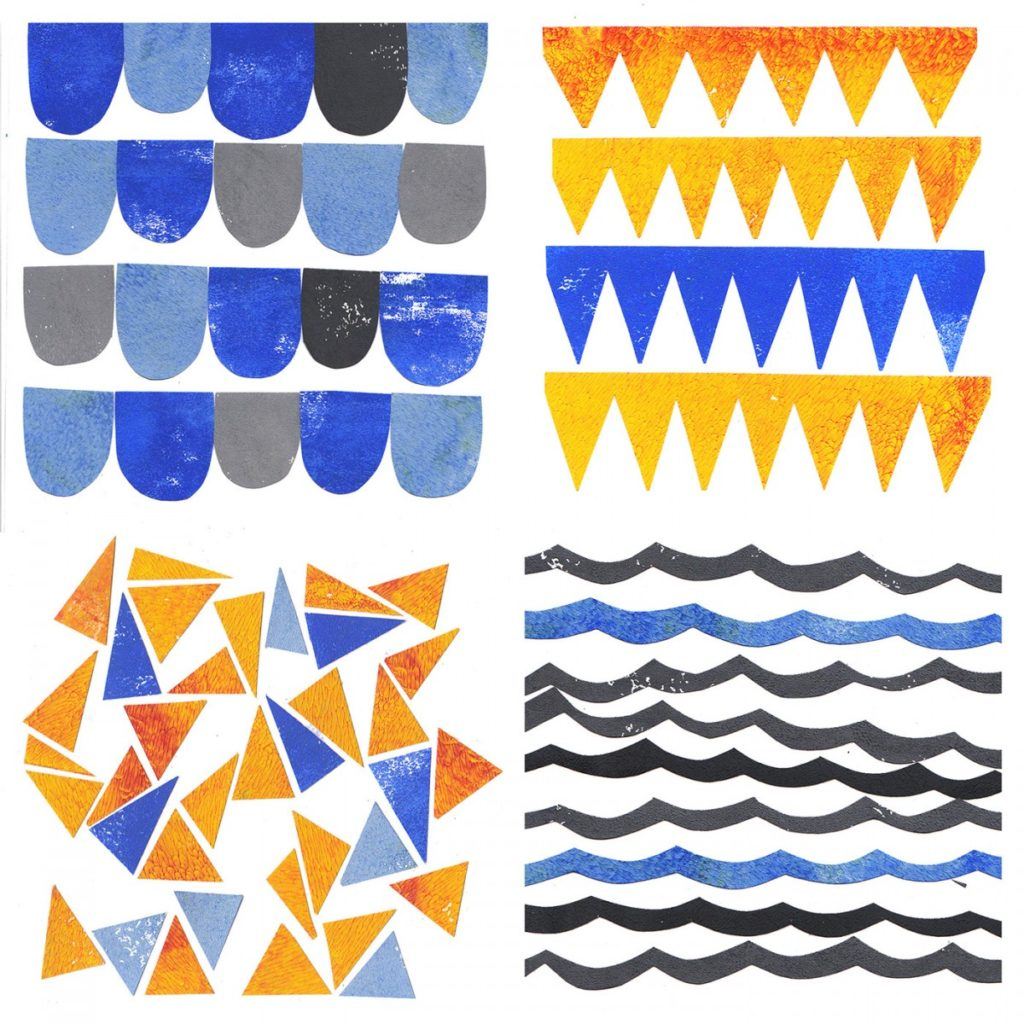 four different geometric patterns, all are blue, orange and grey.