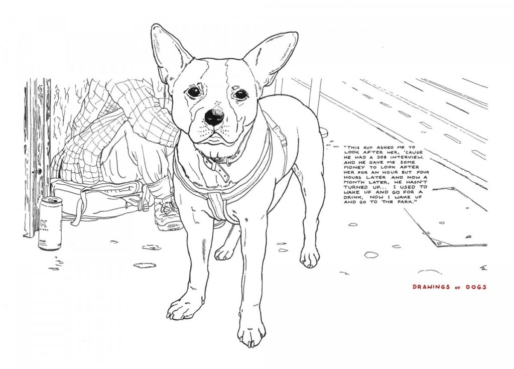 Minimal pen and ink drawing of a staffie (dog) with homeless owner visible in the background