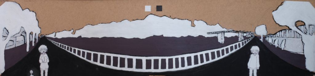 A painting depicting a bridge in block colours: purple, white and black - painted on posterboard. The image mimics a wide-angle photo, bending in the middle.